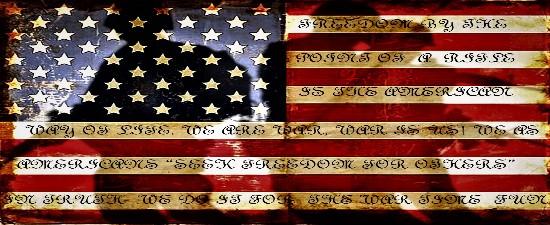 American Flag War Script Color